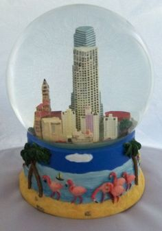 BLOOMINGDALES MIAMI Musical Snow Globe Plays the Tune You Are My Sunshine NIB #SnowGlobes
