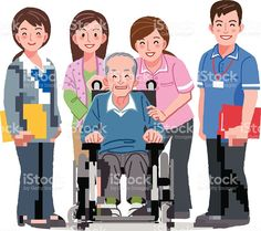 Smiling Senior man in wheelchair and nursing carers royalty-free stock vector art