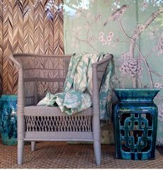 Available from Orient House. Dove Grey Malawi Chair and Chinese PorcelainStool In collaboration with Mary MacDonald www.fschumacher.com offers Chinois Palais. 75043 Aquamarine Firenze 175050 Aquamarine Villa de Medici. 175072 Aquamarine