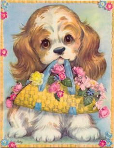 Coby Embossed Oversized Cocker Spaniel Puppy Dog Greeting Card Unused with Envelope Vintage Greeting Cards, Vintage Postcards, Vintage Images, Illustration Mignonne, Cute Illustration, Spaniel Puppies, Cocker Spaniel, Puppy Flowers, Halloween Vintage