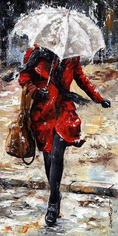 Emerico Toth | Hungarian Painter | Ladies in Rain.   I love rainy umbrella paintings...
