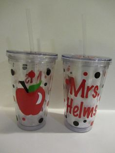 Personalized acrylic tumbler with lid- apple - teacher gift on Etsy, $12.00