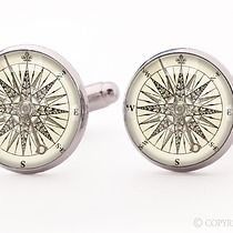 Kompas - spinki do mankietów - 0145, akcesoria - biżuteria