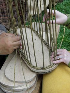 Starting to weave the willow for a Gokstad style backpack.  Svartland.
