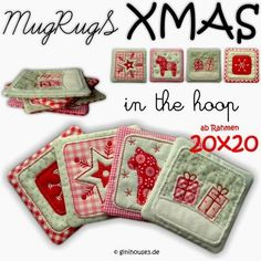 MugRugS - XMAS ★ 20x20    Stickdateien IN THE HOOP ★ MugRugS XMAS ★ 20x20