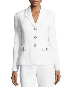 Embellished+Three-Button+Blazer,+Bright+White+by+St.+John+at+Neiman+Marcus+Last+Call.