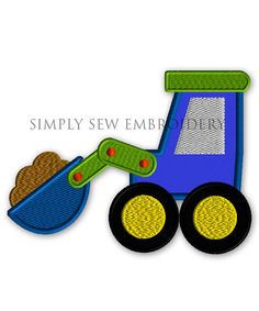 Front Loader Construction Vehicle -- Boy Embroidery Design Machine Applique No. 032
