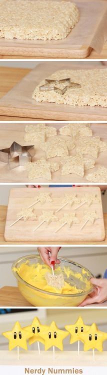 Mario Star Rice Krispy PopsFor Maternity Inspiration, Shop here >> http://www.seraphine.com/us- | Celebration | Baby's first birthday | Style | beautiful ideas | perfect birthday party | be inspired | decoration | food | fashion | baby's first birthday | celebrate in style | beautiful ideas | perfect birthday party |