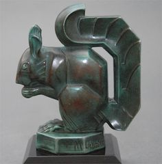 Art Deco squirrel bookends by Max Le Verrier