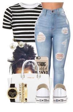 """""""Hello!"""" by jaziscomplex ❤ liked on Polyvore featuring Topshop, Casetify, Michael Kors, Charlotte Russe and Converse"""