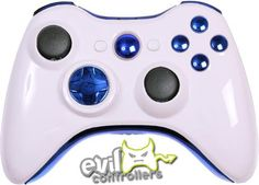 Glossy White Shell with Blue Chrome and sensitive ABXY buttons.