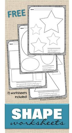 FREE Shape Worksheets - help kids practice making shapes and learning their names with these 13 free printable trace the shape worksheets. Includes extension ideas for tactile learning and younger students - perfect for toddler, preschool, prek, kindergar Free Preschool, Preschool Printables, Preschool Classroom, Preschool Learning, Toddler Preschool, Preschool Activities, Kids Learning, Preschool Shapes, Shape Worksheets For Preschool