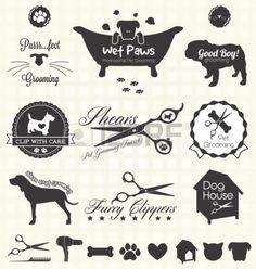 Установить уход за домашними животными Этикетки Фото со стока