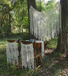Large Macramé Wall Hanging Wedding Backdrop 2 matching chair