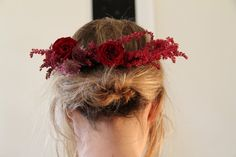 red flower crown by Lili Cuzor via Gardenista