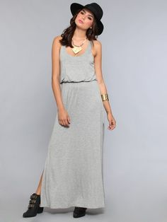 Super soft, jersey maxi dress featuring a racerback neckline at the back, split sides and a slightly bloused, elastic waistline