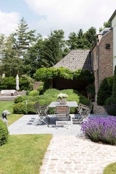 Tuin en terras landelijke stijl