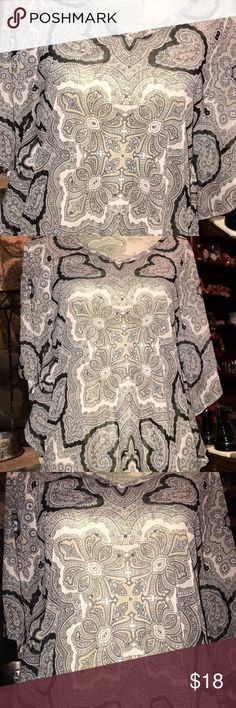 INC PAISLEY DESIGN WOMEN'S BLOUSE  PEASANT STYLE S INC INTERNATIONAL CONCEPTS WOMEN'S BEAUTIFUL SHEER LIGHTWEIGHT PAISLEY DESIGN PEASANT STYLE BLOUSE WITH KIMONO SLEEVES, SHINY BEADING THAT IS ON BLOUSE AND COLOR LIGHT PINK, BLACK AND GRAY. THIS BLOUSE HAS A VNECK. EXCELLENT CONDITION! THE SIZE IS SMALL. ALSO WOULD HAVE TO WEAR A CAMI OR TANK UNDERNEATH SINCE THIS IS SHEER. INC International Concepts Tops Blouses