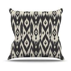 Kess InHouse Amanda Lane Black Cream Tribal Ikat Indoor/Outdoor Throw Pillow | from hayneedle.com