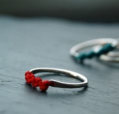 Items similar to Back to roots Macrame and silver stacking rings, set of three, on Etsy