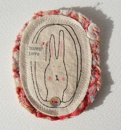 bunny love textile screen printed brooch