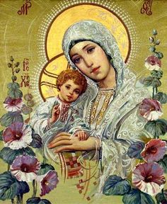Ukrainian icon, Madonna and Child via jasmine Blessed Mother Mary, Divine Mother, Blessed Virgin Mary, Religious Images, Religious Icons, Religious Art, Images Of Mary, Queen Of Heaven, Mama Mary