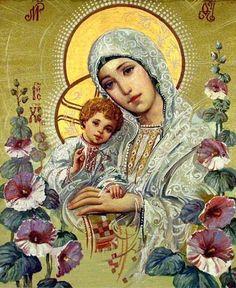 """""""Madonna de las flores"""". (Icono de Ukrania)"""