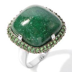 Rarities: Fine Jewelry with Carol Brodie .8ct Green Aventurine and Tsavorite Ring at HSN.com.