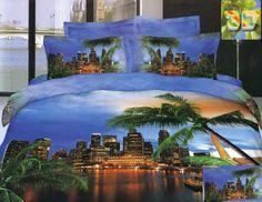 Pościel na łóżko w kolorze niebieskim z motywem mista z palmami