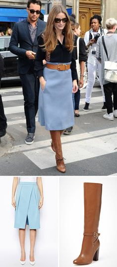 Olivia Palermo style at Paris fashion week spring 2014 Blue Skirt Outfits, Winter Skirt Outfit, Winter Outfits, Casual Outfits, Skirt Fashion, Fashion Outfits, Womens Fashion, Fashion Hacks, Business Rock