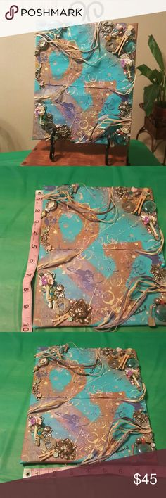"""Mix Media art one of a kind ! This is a one of a kind price of art work hand made by my self! A mixture of beautiful beading/ spray paint/print/ recycled materials and lost items that now found perfect harmony together! I call it """" And always more ! """" Kandace E Other"""