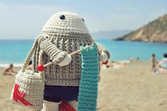Felix the happy knitter - free crochet pattern by Maria Sommer at Katia Website. Multiple languages,