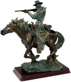 Bronze Finish Wild West Cowboy Sharp Shooter Sculpture Man and Horse Statue Resin Sculpture, Sculptures, Lion Sculpture, Wild West, Statues, Fantasy Football Rings, Home Garden Design, Western Art, Western Decor