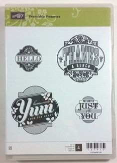 Stampin' Up! Friendship Preserves Clear Rubber Stamp Hello Thanks Yum For You #StampinUp #Background