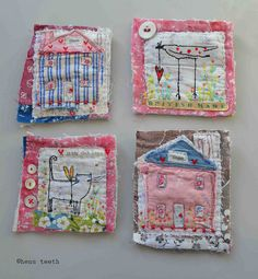 """Textile Fairy-Tales: """"Naive"""" Creativity by Hens Teeth - Livemaster - original item, handmade Textile Jewelry, Fabric Jewelry, Textile Art, Jewellery, Embroidery Stitches, Machine Embroidery, Sewing Crafts, Sewing Projects, Fabric Brooch"""