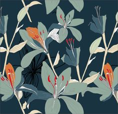 tiger lilies in cold blues and greens with hot orange spot colour