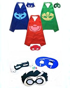 PJ Masks Halloween Party Costumes For Kids Set of 3 Catboy Owlette Gekko Costumes - 3 Satin Capes and 6 Felt Masks -- Awesome products selected by Anna Churchill