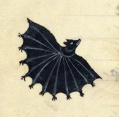 Bat, Frederick II, De arte venandi cum avibus, France ca. 1310 (BnF, Français 12400, fol. 75v)