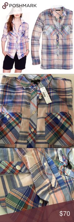 J. Crew pink plaid work shirt Channel your inner lumberjack (or is it lumberjill?) in this lightweight cotton workshirt in a mix of plaids.  Cotton. Button placket. Long roll-up sleeves. Functional buttons at cuffs. Patch pockets with button closure. Machine wash. J. Crew Tops