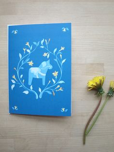 Dala Horse Card in Blue and Yellow Traditional Swedish (Blank)