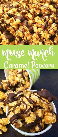 Moose Munch Caramel Popcorn Recipe Moose Munch Caramel Popcorn Recipe - A Turtle's Life for Me Snack Mix Recipes, Candy Recipes, Yummy Snacks, Yummy Food, Sweet Popcorn Recipes, Snack Mixes, Homemade Flavored Popcorn, Homemade Carmel Popcorn, Cookie Recipes