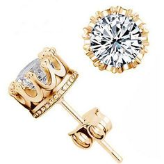 Earring Type: Stud Earrings Fine or Fashion: Fashion Style: Trendy Material: Crystal Metals Type: Silver /Gold Plated Shape\pattern: Round Weight g: 2.1 g