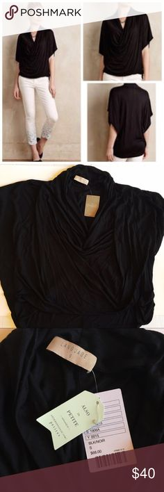 NWT - Anthropologie black Diminuendo Draped top NWT - Anthropologie black Diminuendo Draped top by Language. Hi-low hem, draped front. Anthropologie Tops Blouses