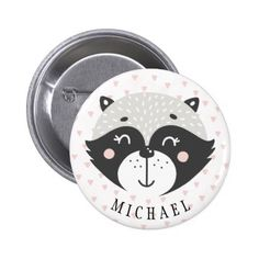 #party - #Cute Racoon Kids Birthday Favor Name Button