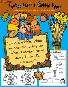 Turkey Poem, Thanksgiving clip art, Thanksgiving printables, Thanksgiving classroom