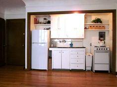 Kitchen in a closet.