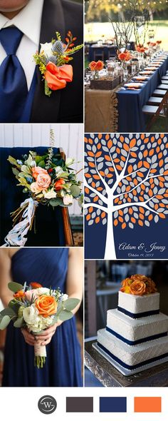 orange and navy blue wedding color ideas for 2017 trends