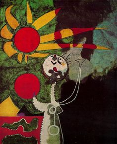 Artwork by Joan Miró - Mujer Delante del Sol (Woman in front of the Sun), Spanish Painters, Spanish Artists, Joan Miro Pinturas, Joan Miro Paintings, Oeuvre D'art, Painting & Drawing, Sun Painting, Les Oeuvres, Abstract Art