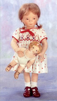 Milly and Her Little Doll, Anniversary Special by R. John Wright, Another A, Christopher Robin, Little Doll, Doll Maker, Felt Dolls, Felt Animals, Miniature Dolls, Antique Dolls