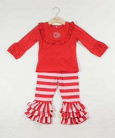 Red & White Monogram Top & Ruffle Pants - Infant Toddler & Girls